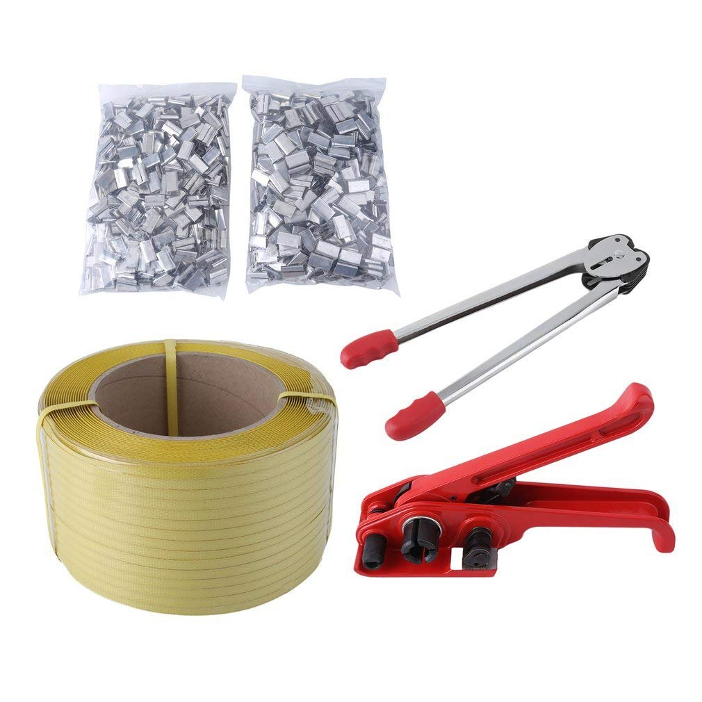 Lifeisbetter Pallet Strapping Banding Kit Tensioner Tool Sealer Tool 12mm1000M Coil Reel for Packing
