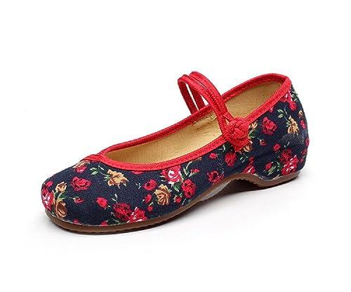 Lazutom Zapatos estilo merceditas, diseño chino bordado