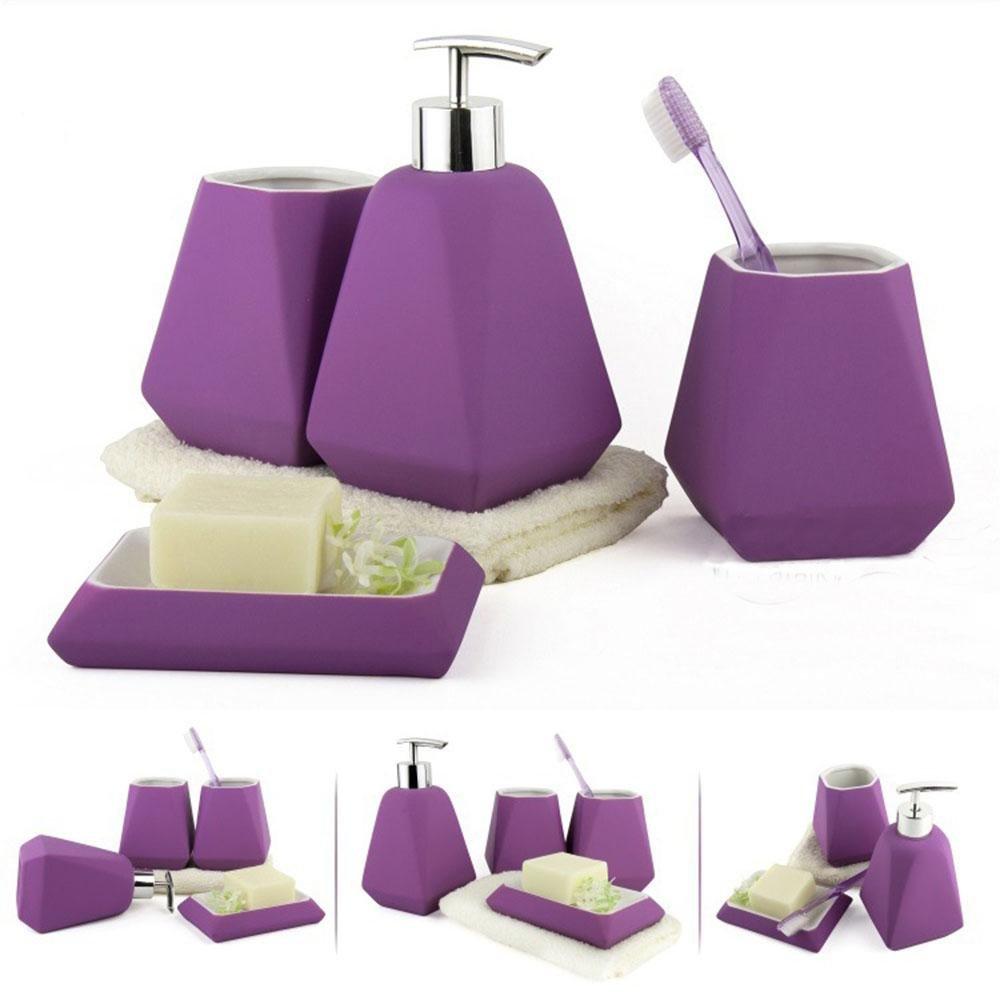 PLYY ceramica Set di accessori da bagno Simpl colore bagno Quattro set di pezzi viola Rosa rossa blu Grigio chiaro, Rose QWER