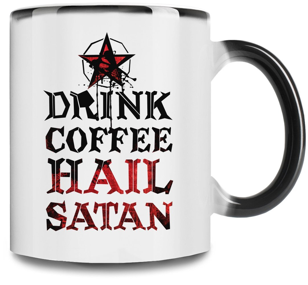 Drink Coffee Hail Satan Premium Full Color Changing Mug| 11Oz|Drink W/ Style In Our Unique Color Changing Mug| High Quality Ceramic W/ Glossy Finish Hamerson