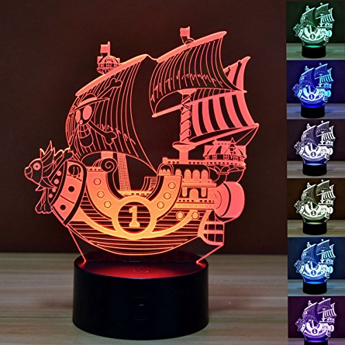 Pirate Ship 3D Optical Illusion LED Lamp Boat Shapes Children Bedroom NightLight 7 Colors Illusion Lamp in a Nursery or Bedroom a Great Gift for Kiddie Kids Children (Pirate Lamp)
