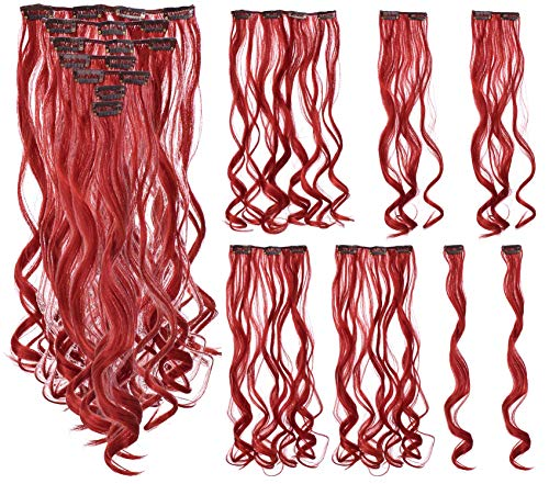 SWACC 7 Pcs Full Head Party Highlights Clip on in Hair Extensions Colored Hair Streak Synthetic Hairpieces (20-Inch Curly, Red)]()