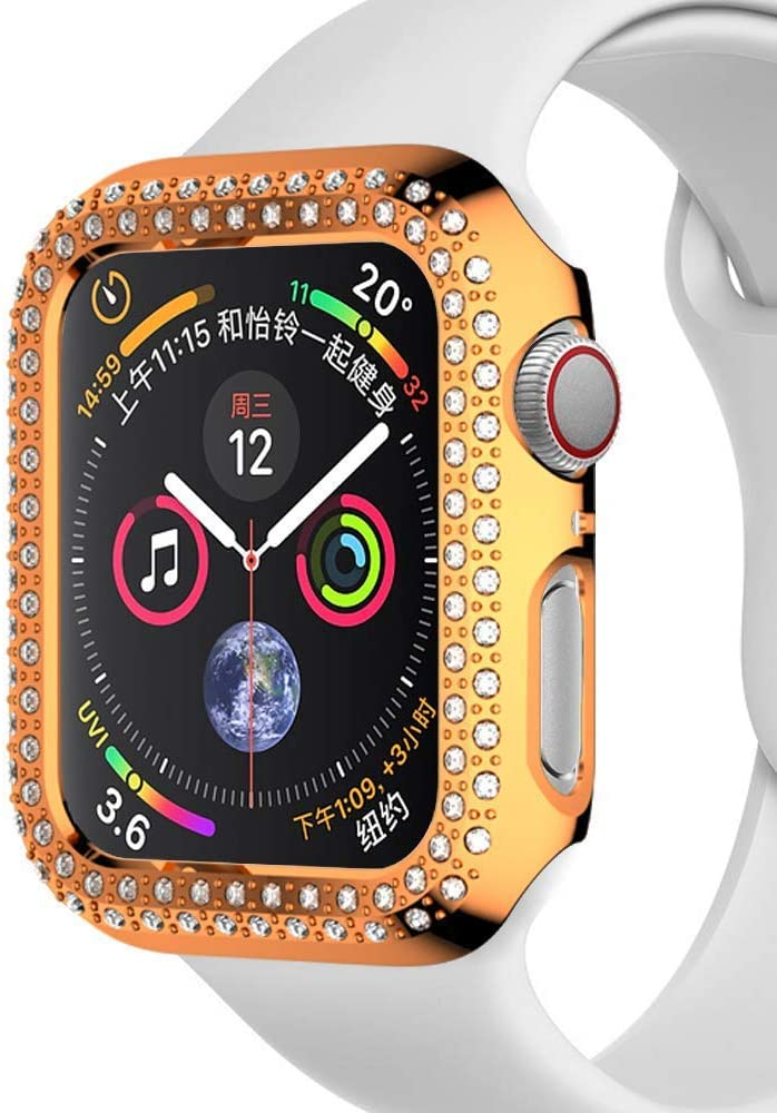 Compatible with Apple Watch Case 40mm 44mm, PC Plated Hard Bumper Bling Crystal Diamonds Shiny Glitter Cover Frame Compatible iWatch Series 4 Series 5 for Watch Case (Rose Gold, 40mm)