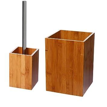 Lot accessoires salle de bain BAMBOU: Amazon.fr: Cuisine & Maison