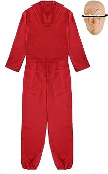 TiaoBug Unisex Disfraz Carnaval de Broma Traje de Cosplay Dali para Navidad Halloween Bodysuit Rojo+Máscara Fiesta Rojo Medium