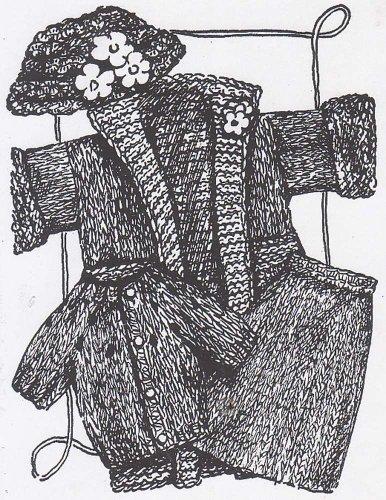 Knit Ensemble - Knit Barbie Fashion Doll 4 Piece Ensemble Cardigan Sweater Coat Skirt Knitting Pattern with Crocheted Hat