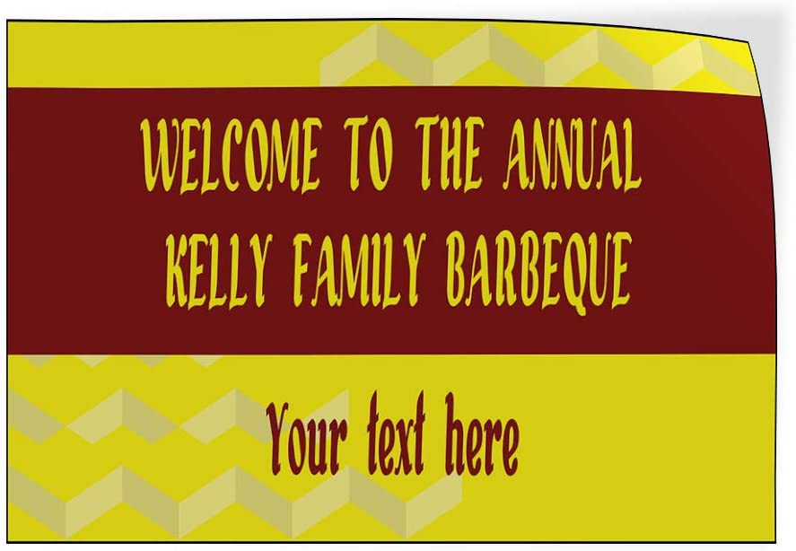 Custom Door Decals Vinyl Stickers Multiple Sizes Welcome to The Annual Name Family BBQ Lifestyle Welcome Signs Outdoor Luggage /& Bumper Stickers for Cars Yellow 69X46Inches Set of 2