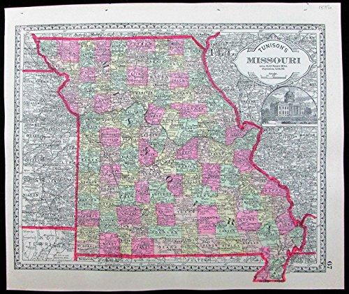 Missouri St. Louis Springfield counties towns 1886 decorative antique color map