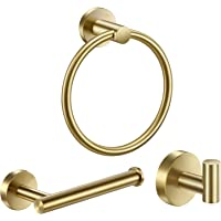 Pynsseu 304 Stainless Steel Bathroom Hardware Accessories Set Brushed Gold 3-Piece Set Includes Hand Towel Ring, Robe…