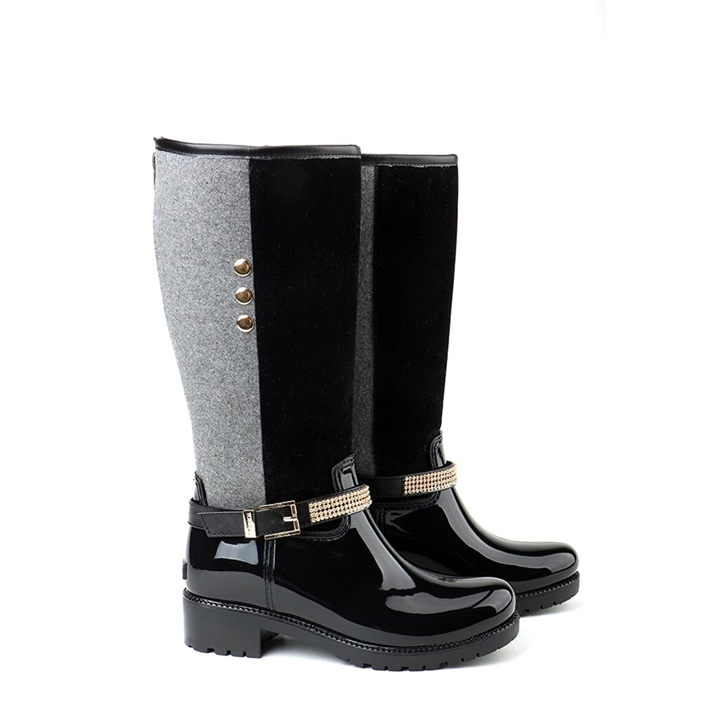 Tongpu Women Buckled Decoration Knee High Rain Boots