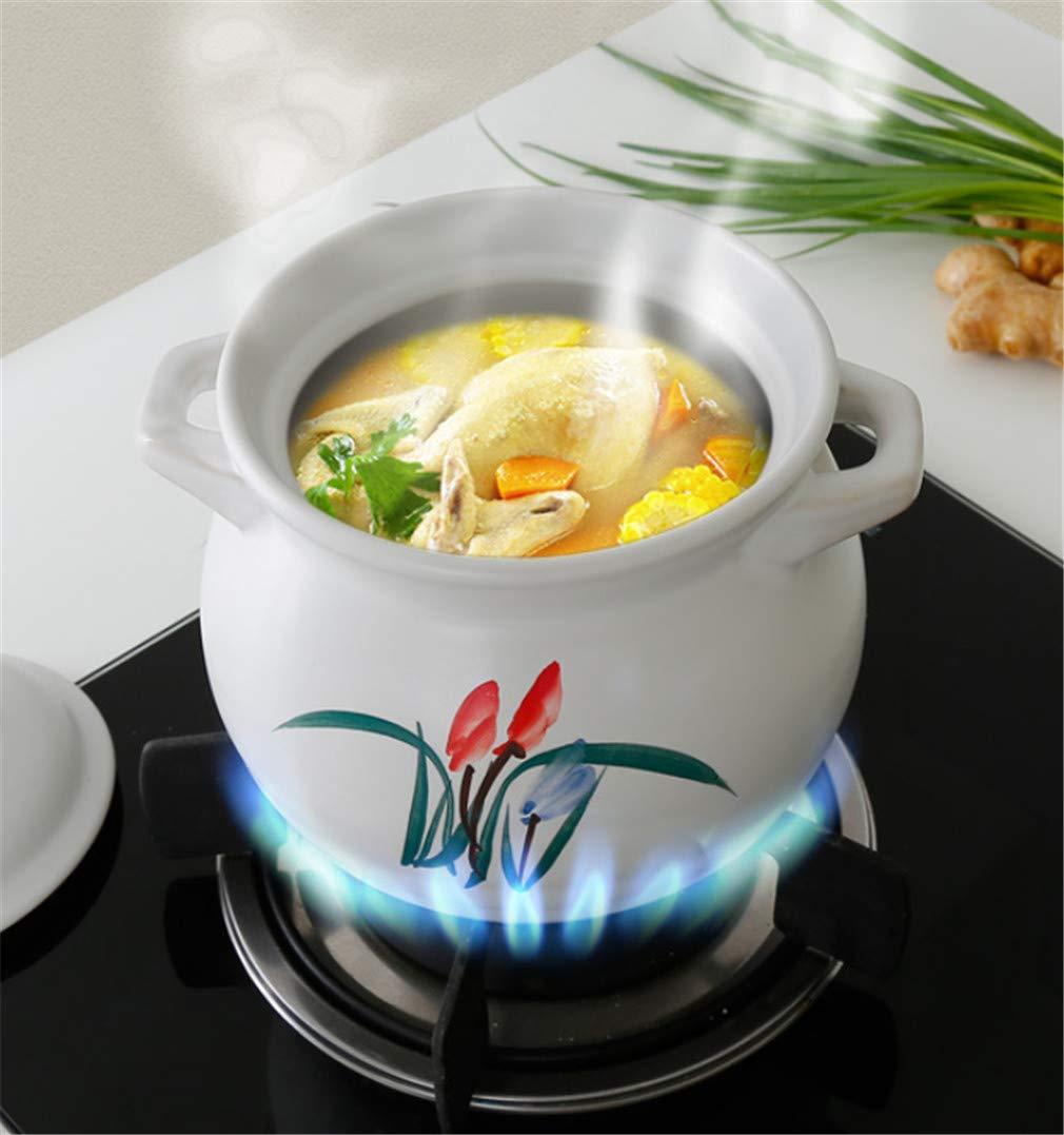 Semplice squisita Orchidea Bianca Resistente alle Alte Temperature Fornello nutriente Rotondo di Alta qualit/à per la Salute Domestica 1.8L L-ELEGANTE Casseruola in Ceramica