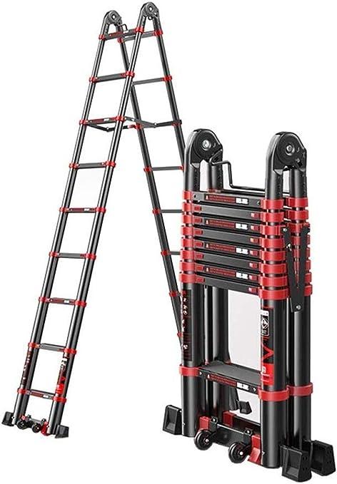 BAOFI Escalera telescópica Multiusos Plegable de Aluminio con Marco en A, con bisagras y Barra de Apoyo para Interiores y Exteriores para el hogar y la Cocina escaleras portátiles: Amazon.es: Hogar