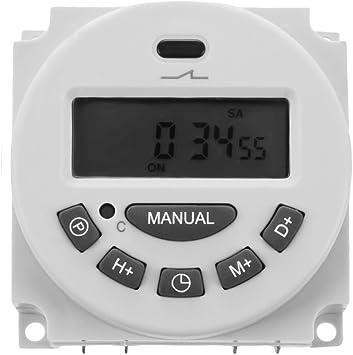 16 A - Interruptor Temporizador de rel/é de 12/V CC programable con pantalla digital LCD R SODIAL