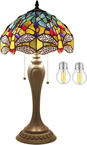 Tiffany Lamp 2LED Bulb Included Sea Blue Yellow Stained Glass Crystal Bead Dragonfly Style Table Light W12H22 Inch S128 WERFACTORY Lamps Lover Friends Kids Parents Living Room Bedroom Study Gifts