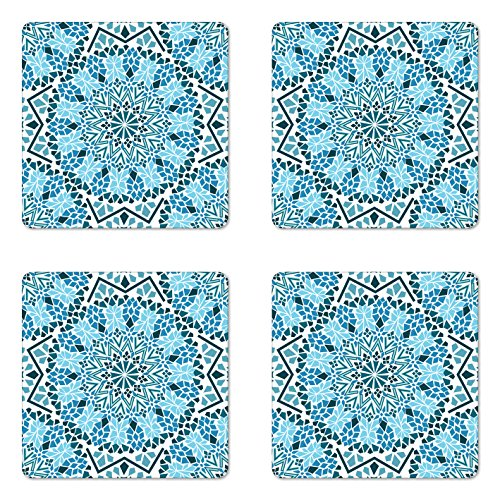 (Ambesonne Moroccan Coaster Set of 4, Moroccan Architecture Consists of Geometrically Patterned Mosaic and Stars Eastern, Square Hardboard Gloss Coasters for Drinks, Standard Size, White Blue )