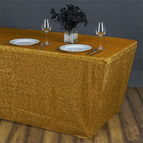 - Efavormart 6 Ft Rectangle Table Cover Metallic Gold Shiny Glittered Spandex Tablecloth for Wedding Party Event Banquet Table Decor
