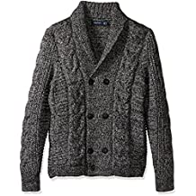 Nautica mens Long Sleeve Textured Shawl Collar Double Breasted Peacoat Sweater