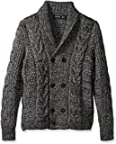 Nautica Men's Long Sleeve Textured Shawl Collar Double Breasted Peacoat Sweater, True Black, XX-Large