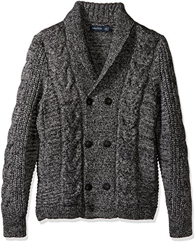 Nautica Men's Long Sleeve Textured Shawl Collar Double Breasted Peacoat Sweater, True Black, Large