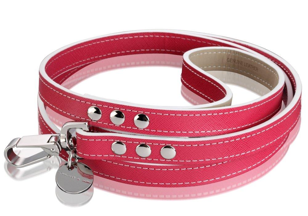 Hennessy & Sons Hand Made Italian Saffiano Leather Dog Lead, 118 x 1.2 x 0.3 cm, 138 g, Fuchsia Pink