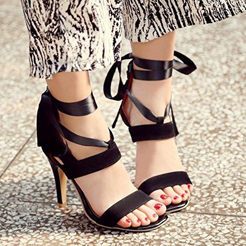 Fashion Women TAOFFEN Heel Zipper High Toe with Black Ribbon Open Sandals 45qqaw