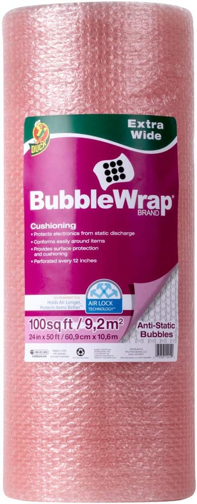 Duck Brand Anti-Static Bubble Wrap Cushioning, Extra Wide 24-Inch x 50-Feet, Pink (285793) : Office Products