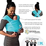 Baby K'tan Breeze Baby Wrap Carrier, Infant and Child Sling-Teal XS (W Dress 2-4 / M Jacket up to 36). Newborn up to 35 lbs. Best for Babywearing.