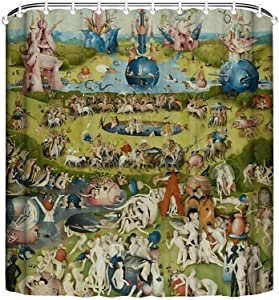 The Garden of Earthly Delights Hieronymus Bosch Boutique Shower Curtain Hooks Polyester Home Decor 72x72Inch
