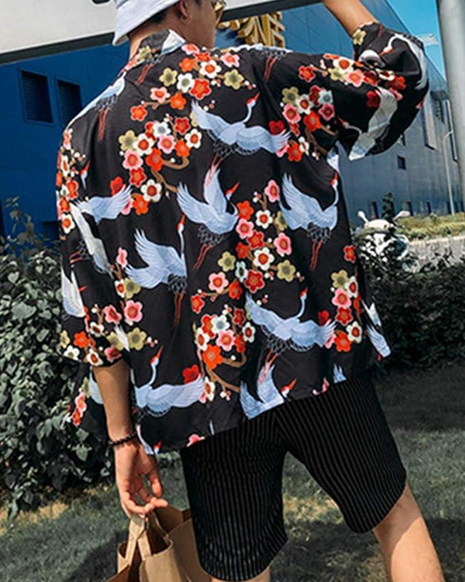 DianShaoA Cloak C/árdigan Kimono Jap/ón Capa para Hombres Chinese Style Kimono Jacket Chaqueta Casual