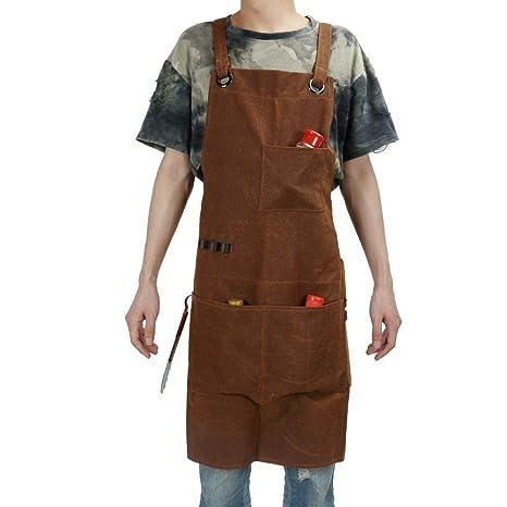HANSHI Delantal de soldar, resistente, 3 bolsillos, lona encerada, para taller,
