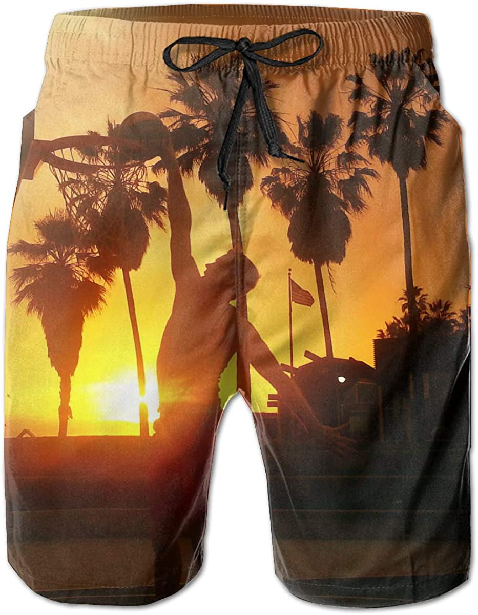 VenMSP Hawaii Basketball Beach Shorts Showy Mens Beach Pants Adults Surf Board Trunks Home Relaxed Trousers
