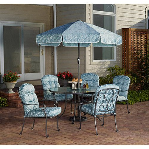 Amazon.com: Mainstays Willow Springs 6 Piece Patio Dining Set, Blue, Seats  5: Kitchen U0026 Dining