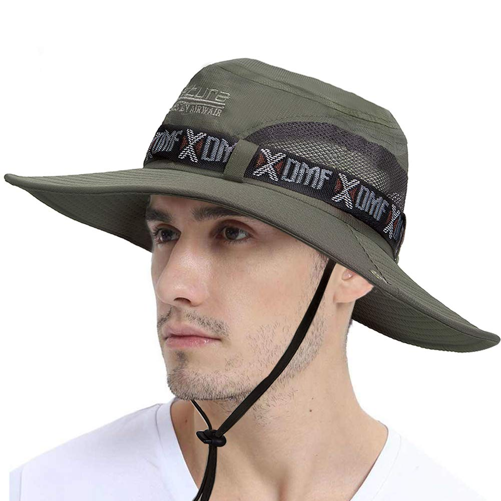Fashion Summer Outdoor Sun Protection Fishing Cap . Wide Brim Summer Fishing Hat for Hiking, Cycling,Camping,Boating & Outdoor Adventures. Breathable Polyester with Mesh.For Men & Women-Army Green by SPTLIME
