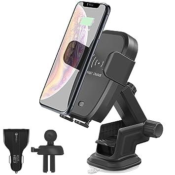 Lemorele Cargador Inalámbrico Coche Rápido Rotación de 360° Soporte Teléfono de Ventilación por Gravedad para iPhone XS/XS MAX/XR/X/8Plus/8, Samsung ...
