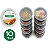 [10 pack] Round BPA Free Meal Prep Containers. Reusable Plastic Food Containers with Lids. Stackable, Microwavable, Freezer & Dishwasher Safe Bento Lunch Box Tupperware Set + EBook [680 mL]