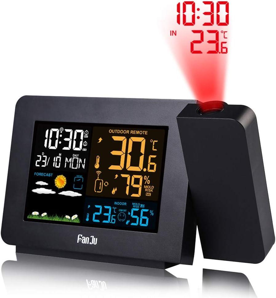 Queta FanJu R/éveil m/ét/éo avec /écran LCD Affichage num/érique R/éveil num/érique Multifonction avec temp/érature int/érieure//Heure//temp/érature//humidit/é de lair