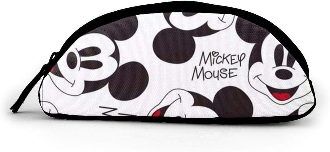 Estuche de tela semicírculo con bolsillo grande con diseño de Mickey Mouse sin costuras, para maquillaje escolar: Amazon.es: Oficina y papelería
