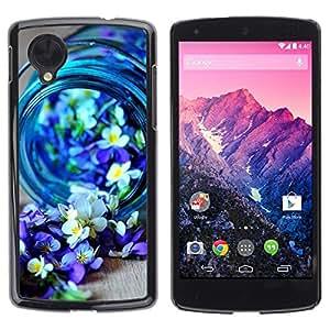 FECELL CITY // Duro Aluminio Pegatina PC Caso decorativo Funda Carcasa de Protección para LG Google Nexus 5 D820 D821 // Blue Spring Blooming Nature Purple