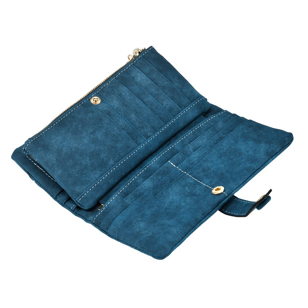 TechSmile Mujer cartera Clásica Estilo Billetera larga de cuero y Gran capacidad para Tarjetas (oscuro azul)