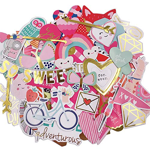 Scrapbook Stickers,80pcs Cardstock Stickers Love Stickers Decorative Masking Stickers for Personalize Laptop Scrapbook Daily Planner and Crafts -