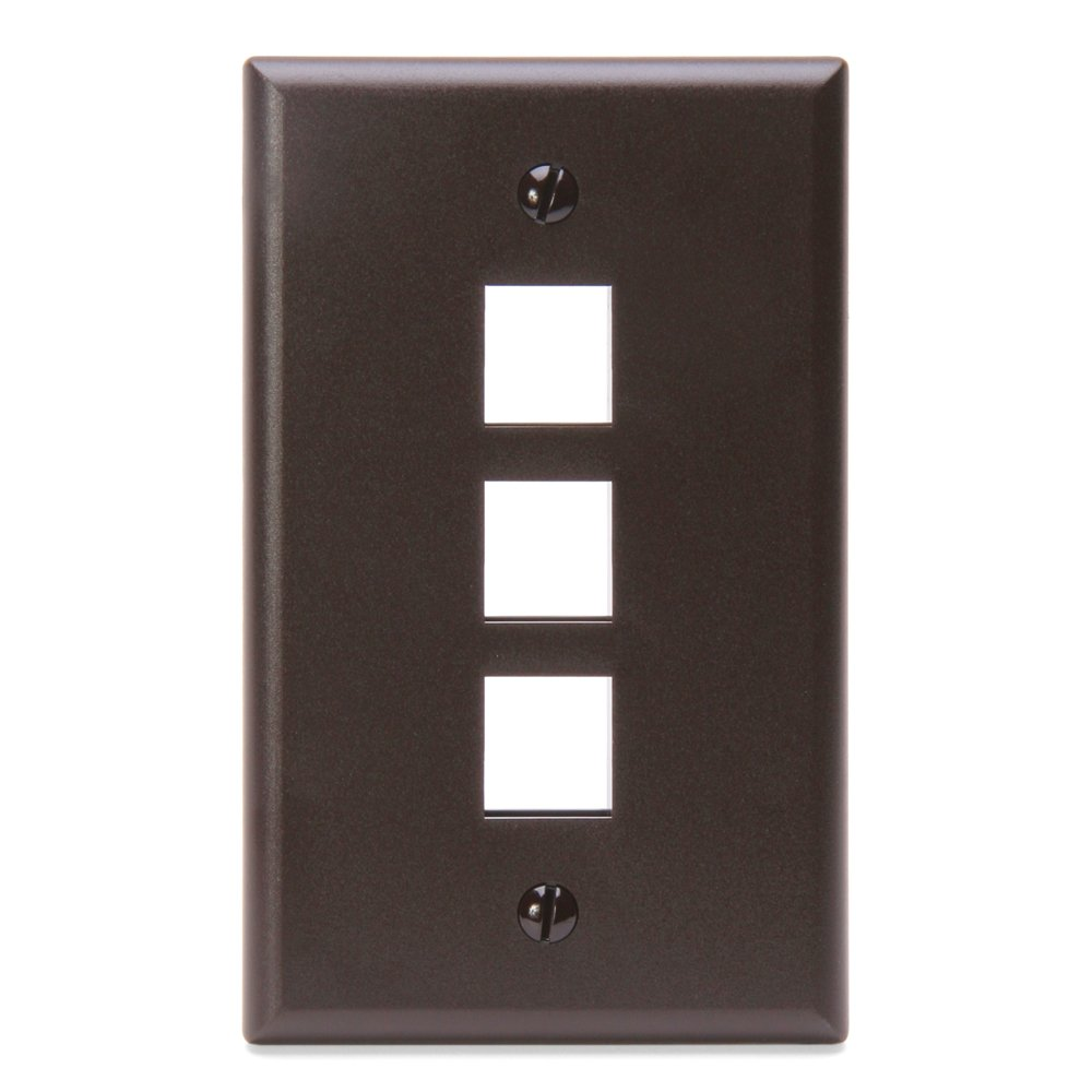 Leviton 41080-1WP QuickPort Wallplate, Single Gang, 1-Port (White)