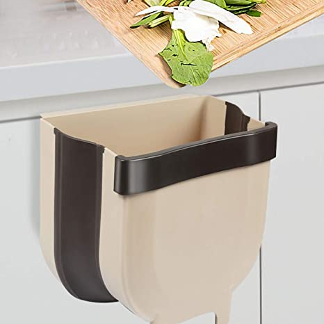 Amazon Com Braoses Small Hanging Trash Can For Kitchen Cabinet Door Collapsible Mini Foldable Waste Bins Wall Mounted Trash For Cabinet Car Bedroom Bathroom Garbage Can 1 7 Gallon Home Kitchen