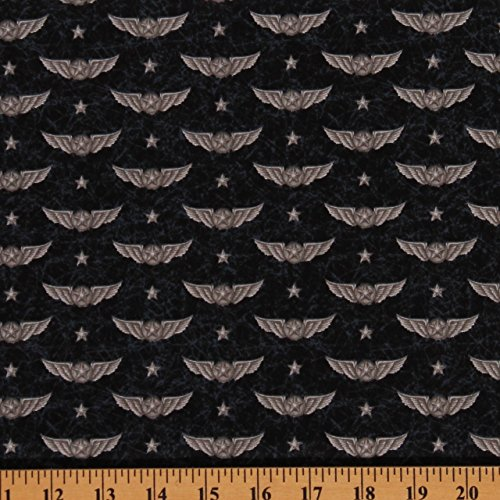Cotton Wingman Aviation Wings Insignia Badge Emblem Smithsonian Logo Flying Airplanes Pilots Stars Gray Dark Blue Cotton Fabric Print by Yard (1649-23615-J) ()