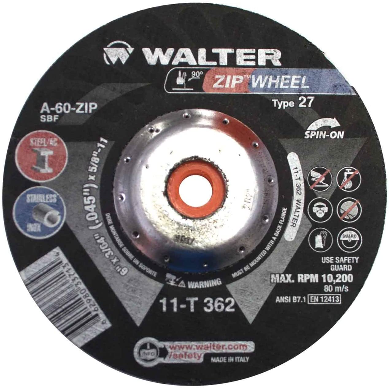 Walter 11T362 6x3//64x5//8-11 Spin-On Zip Wheel Type 27 A60 Grit 25 pack