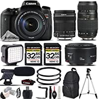 Canon EOS Rebel T6s Camera + 18-135mm STM Lens + Tamron Zoom Telephoto 70-300mm Autofocus Lens + Canon EF 50mm 1.8 II Lens + LED Light KIT - All Original Accessories Included - International Version