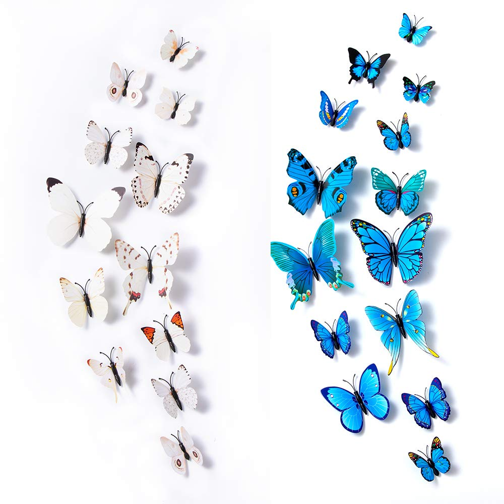 12PCS Butterfly Wall Stickers Double-deck Wall Mural Stickers for Living Room
