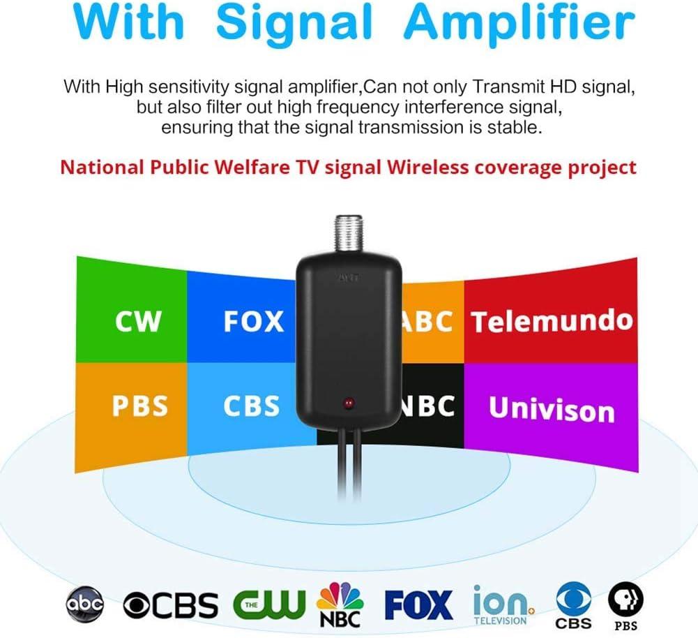 omufipw 120M Gama Digital Interior TDT Antena TV 1080p HDTV Antena con Cable 13ft y Amplificador Desmontable señal Booster: Amazon.es: Electrónica