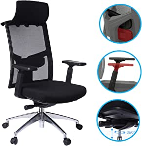 Tdbest Highback Mesh Office Chair with Adjustable Armrest Lumbar Support Headrest, Ergonomic Swivel Desk Chair for Office Guest Reception/Conference Room