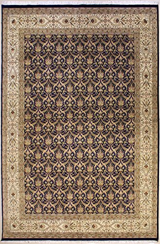 (RugsTC 10'0 x 14'1 Pak Persian Area Rug with Silk & Wool Pile - Floral Design | 100% Original Hand-Knotted in Blue,White,Beige Colors | a 10x14 Rectangular Double Knot Rug)