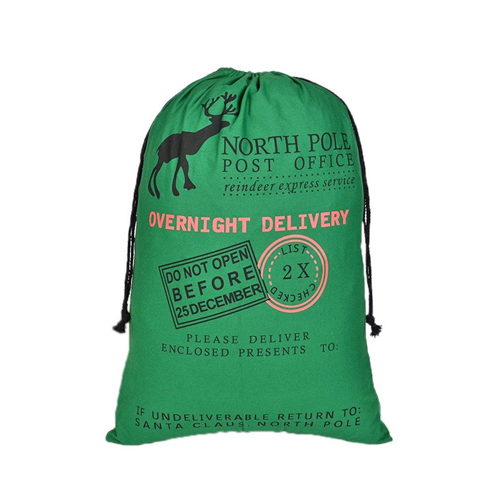 Aspire卸売業クリスマスジャイアントキャンバス巾着袋再利用可能な食料品の買い物袋ギフトストレージ - Green - 120 PCS   B071S8M6DK